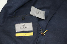 $1,495 CANALI Kei Collection Wool & Silk Navy Blue Blazer Jacket Size 46 R