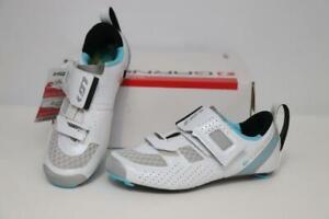 New Louis Garneau Tri X-Lite II Carbon Road Bike Shoes 36 6 White Blue Triathlon