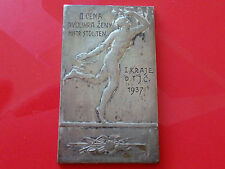 1937 Table Tennis old plaque without Men playing tennis 2nd place Womans Double