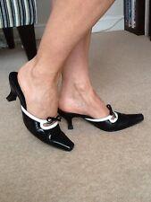 Classic Stylish Black And White Kitten Heel Mules, Size 4 (37) Cristian Algarra