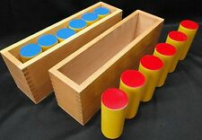 Montessori sound boxes (cylinders), new, in wood box. Kido
