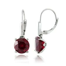 925 Silver Created Ruby Round Leverback Earrings
