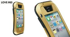 Love Mei Metal Case for iPhone 4 4s Splash Waterproof Stable Protection Gold