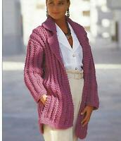"Ladies Easy Knit Double Chunky Jacket Knitting Pattern with pockets 32-42"" 725"