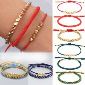 3pcs/Set Lucky Copper Beads Bracelet Tibetan Buddhist Bangle Knots Rope Blessed