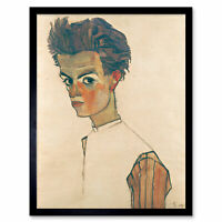 Egon Schiele Self Portrait With Striped Shirt Art Print Framed 12x16