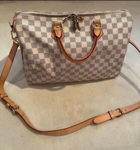Louis Vuitton Damier Azur Speedy 35 Hand Bag LV Canvas&Leather Speedy Bag+STRAP