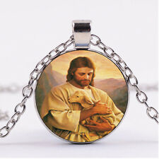 Photo Cabochon Silver/Bronze/Black Necklace pendant,jesus carrying a lost lamb