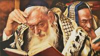 "Itshak Holtz ""Rabbi's Learning Torah"" Jewish Lithograph S/N 168/275, Judaica Art"
