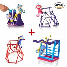 Swing Set+Jungle Gym Playset + Jungle Gym Stand + Seesaw for Fingerlings Monkey