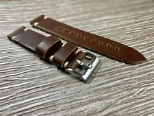 22mm DARK BROWN Crazy Horse Vintage Top Grain Leather Watch Straps WHITE stitch