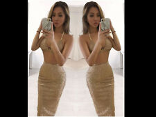 Women Glitter Sheer Evening Party Midy Dress Bodycon Skirt 2 Piece Set Crop Top