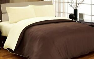 Duvet Cover & Fitted Sheet Reversible Polyester 6PC Set Choc & Cream King Size