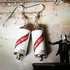 Unique RED STRIPE LAGER EARRINGS handmade PUB cans MINIATURE jamaican BEER cool