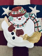 """New Fitz and Floyd """"Plaid Christmas"""" Canape Plate Holiday Snowman Cookie Plate"""