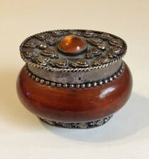 Gemstone Oval Small Trinket Box Ring Holder Vintage Amber Brown Silver Hearts