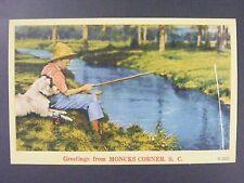 Moncks Corner South Carolina SC Boy Fishing with Dog Linen Postcard 1930-45