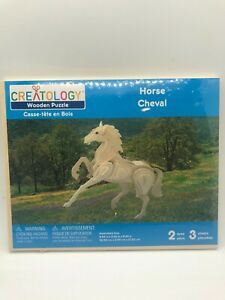 CREATOLOGY WOODEN 3D PUZZLE - HORSE - New in Sealed Package