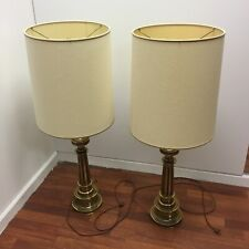 "Lot (2) Vintage Stiffel Mid Century Modern Brass Table Lamp 37"" Tall w/ Shades"