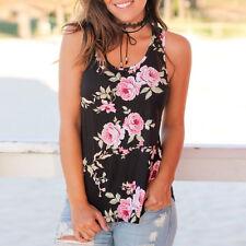 UK Womens Sleeveless Tank Top Cami Vest Blouse Vest T Shirt Ladies Floral Tops