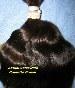 HUMAN HAIR HAIRCUT 14 INCH 3.4oz WAVY DARK BRUNETTE PONYTAIL REBORN DOLLS L36