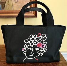 Kate Spade Maira Kalman French Lady Tote Purse Bag Black Nylon Cotton Canvas