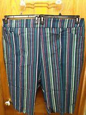 4X Terra & Sky Striped Stretch Capri Pants Tummy Control New