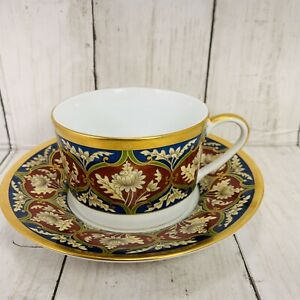 Christian Dior Tabriz Flat Coffee Cup & Saucer Set from 1991 to 1999 Never Used!