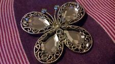 PRETTY Vintage Filigree & Rhinestones Silvertone BUTTERFLY BROOCH/PIN*****