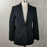 White Stag 100% Wool Blazer Jacket Womens size 6 boxy button coat career Black