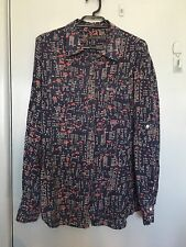 Sportscraft long sleeve with navy silk shirt with red and cream in size 10