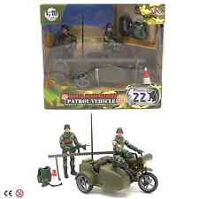 Mundo de los soldados de patrulla militar vehículo ejército Moto Con Sidecar + 2 Figuras