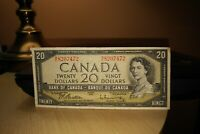 1954 $20 Dollar Bank of Canada Banknote ME8207472 VF 20 Crisp