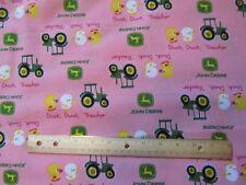 2 Yards Pink John Deere Ducks/Tractor Cotton Fabric
