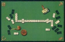 Dominoes Domino Gioco Four Leaf Clover Luck Relief serie 14069 postcard TC3128