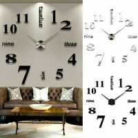 DIY Modern 3D Numerals Luxury Mirror Wall Sticker Clock Home Room Decor New