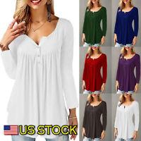 Ruffle O Neck Swing Tunic Blouse Button Pleated Shirt Long Sleeve US Womens Top