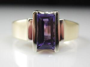 Amethyst Ring 14K Two-Tone Estate Channel Set Size 7 Genuine Purple Fine Jewelry