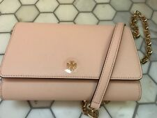 Tory Burch Robinson Leather Wallet on a Chain Crossbody Pale Apricot $298