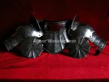 LARP High Gothic Pauldrons & Gorget Steel Armour Gorget and Pair of Shoulders