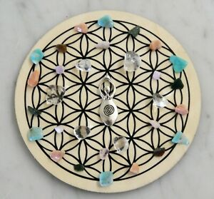 Sacred Geometry Grid Kit Wooden Grid w/Crystals & Shells Choice 19 Intentions