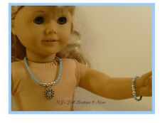"Lt Blue Snowflake ""Frozen"" Rhinestone Necklace Set fits American Girl Doll"