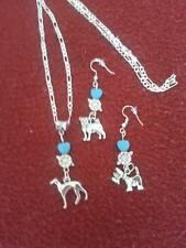 dog lovers Pendant bead/ earrings ital figaro silver chain/tibetan silver