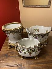 New listing Set Of 3 United Wilson Company Porcelain 1897 Centerpiece Bowl With Brass Stand