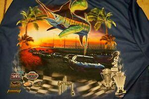 Guy Harvey Shirt Nascar Mens XXL Long Sleeve Blue Miami Speedway Made In USA