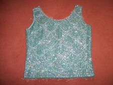 Vintage hand beaded and sequin top size 12, turquoise, lined wool. just lovely.