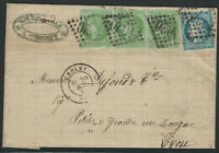France, Scott #53 Strip of 3 and #58, on 1872 Cover, sent from Cholet to Lyon