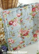 Floral Thick Blue Quilted Chair Seat Pad/Mat cushion Country Cottage Shabby Chic