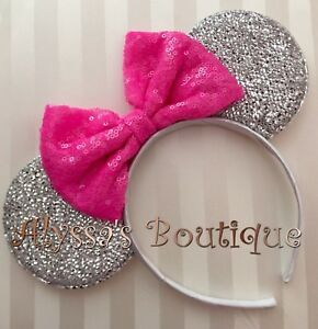 Minnie Mouse Ears Headband Sparkly Silver Cotton Candy Hot Dark Pink Sequin Bow