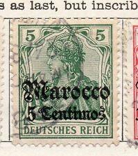 Maroc Allemand 1905 début question fine utilisé optd surcharged 5C. 105690
